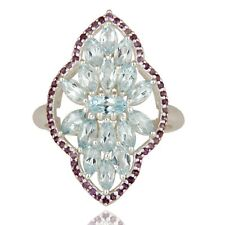 925 Sterling Silver Natural Amethyst  Blue Topaz Gemstone Statement Ring Jewelry