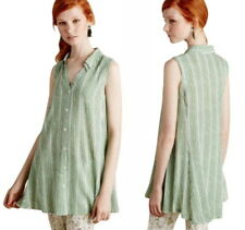 Anthropologie Swing Softly Tunic Petite Small P2 P4 Green Motif Silky Soft Top
