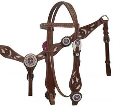 Showman Beaded Concho Leather Bridle & Breast Collar Set W/ Cowhide Inlay! TACK!