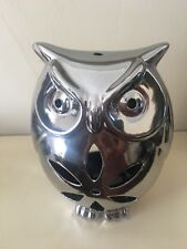 Owl Tealight Holder Silver Ceramic With 10 Tealight Candles Height 19cm