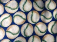 "Baseball softball with blue background fleece fabric, 60"" wide, sold by the yard"