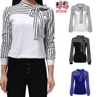 Spring Women Tie-Bow Neck Patchwork Striped Long Sleeve Splicing Shirt Blouse
