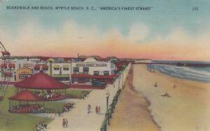 MYRTLE BEACH SC Boardwalk Strand Carousel Bingo 1947 Vtg South Carolina E182