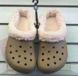 Khaki Mammoth Winter Backless Crocs Khaki/Dirty Khaki Linings Infants 6/7