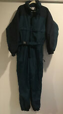 MENS Large COLUMBIA 1pc Green Ski Snow Suit Jacket Pants Navy Accents Hood