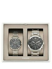 NWT Fossil Couple Watch His & Her Silver Bracelet GRANT BQ2146 BQ2146SET $265