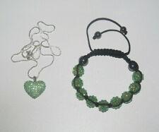 Lot Style Shamballa Bracelet + Collier Pendentif Coeur Vert NEUF