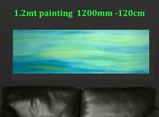 XL 1.2mt LIME ZEST Hand Painted Seascape Abstract Canvas Painting Original Art