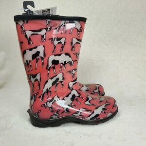 SLOGGERS Women's Waterproof Garden Rain Boot Pink Cow Print US 6 NEW Cowebella
