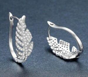 Charming 925 Sterling Silver & White Topaz Leaf Shape Earrings Nature Leaves