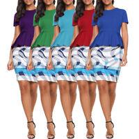 Womens Peplum Dress Bodycon Office Wear OL Skirt Casual Short Sleeve Elegant