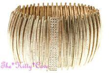Stunning Gold Pltd Textured Curved Bars Flex Bracelet Cuff w/ Swarovski Crystals