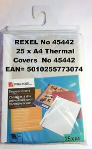 REXEL No 45442 25 x A4 Thermal Covers No 45442 - 6mm  GENUINE NEW SEALED