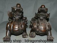 "15 ""Vieux Bronze Chinois Bête Feng Shui Animal pi Xiu brave troupes Statue"