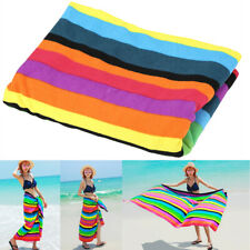 Lightweight kids Adult Microfibre Rainbow Stripe Beach Bath Sports Gym Towel UK