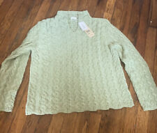 ALPS sweater sweet sage green cable knit L new