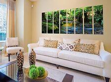 Forest stream print on canvas, 8 panel canvas print stream, rainforest wall art