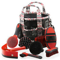 Horse Grooming Kit - Grooming Bag & Set Of 8 Brushes For Horses & Ponies
