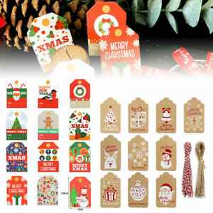 50-100PCS Christmas Kraft Paper Gift Tags Scallop Label Luggage Blank + Strings