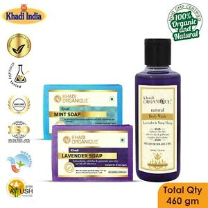 Lavender Mint  Khadi Body Wash Soap 100% Organic Pure Herbal Exotic Scent Combo