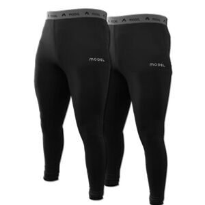 Men Compression Long Leggings Black Gym Running Training Workout Yoga Pack of 2