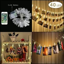 40 LED Guirlande-clip lumineuse à piles Batterie LED Design 4 m Photo Neuf