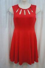 Betsey Johnson Dress Sz 10 RED Soild Seamed Scuba Cocktail Evening Sheath dress