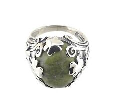 Irish Connemara Marble Silver Ring with Shamrocks by J. C. Walsh & Sons
