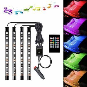 4X9 RGB LED Car SUV Interior Decor Neon Atmosphere Light Strip Music Control US