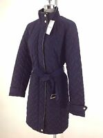 Cole Haan NWT NAVY belted Quilted Women's Jacket w Black leather trim size L, XL