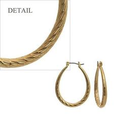 """1 1/4"""" Gold Tone Surgical Steel Post Oval Hollow Hoop Textured Earrings"""