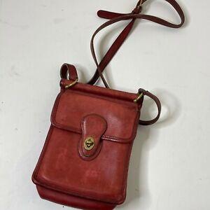 Vintage COACH 9930 Murphy Willis RED Leather Crossbody Shoulder Bag