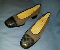 Araldo of Venice womans 38 1/2 Grey suede and snakeskin slip on shoes USA 8.5 sz