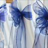 25x Navy blue Organza Sheer Chair Sashes Wedding Banquet Party Events Decoration