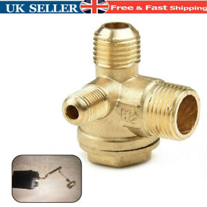 Air Compressor Check Valve 3-Port Brass Parts Replacement Universal Male New