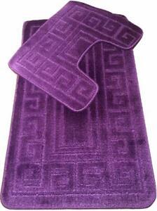 Large & Soft Bathroom Shower 2 Piece Bath Mat Set Non Slip & Toilet Pedestal Rug
