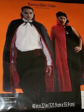 "Adult Vampire Witch Reversible Red Black 48"" Hooded Cape Halloween Costume"