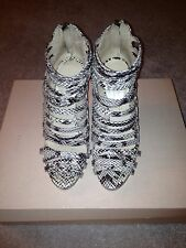 Loeffler Randall Mabel Snake Embossed Very Strappy Open Toe Booties Sz 6.5
