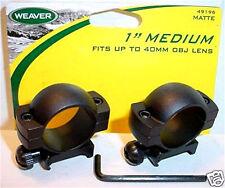 """Weaver 1"""" Med Black Matte Rifle Scope Mount Rings 96"""