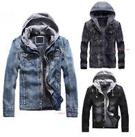 Men Classic Denim Jacket Fleece Lined Warm Jeans Coat Long Sleeve Outwear Hooded