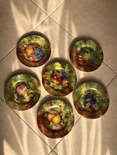6 Rochard Limoges France Fruit Still Life Scalloped Plates A.J.Heritage