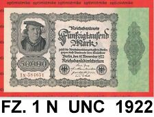 (238) Ros.79 d ( FZ: 1 N ) 50 000 Mark UNC Pick 79 Germany Inflation 19.11.1922