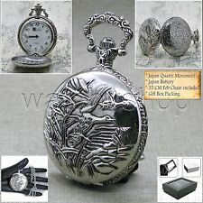 Silver Pocket Watch Antique Pewter Men Big 47 MM with Fob Chain & Gift Box P221
