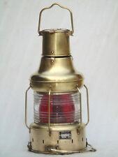 NOS VINTAGE 1957 ALL BRASS SHIPS LANTERN CLASS A2 RED LIGHT OIL KEROSENE LAMP