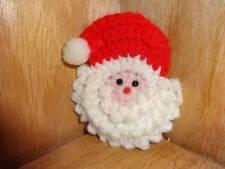 "Vintage Hand Made Crochet Santa Claus Head Face Refrigerator Magnet 3"""
