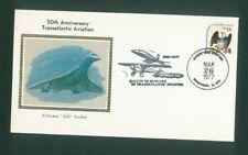 USA - Concorde Cover 50th Anniversary Transatlantic Aviation 1977 Silk Cachet