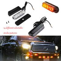 4W 4 LED Vehicle Grille Emergency Light Side Marker Flash Strobe Light Amber Red