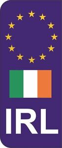 Ireland IRL Flag EU Car Number Plate Domed Sticker Decal (Pack of 2)