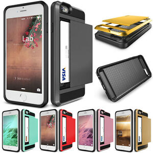 Credit Card Phone Case Hard Back Slide iPhone 5 6 7 8 X 6+ 7+ Samsung S7 S8 S9