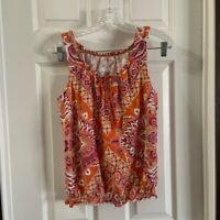 Sonoma Women's Orange Boho Scoop Neck Cinched Hem Top blouse size MP